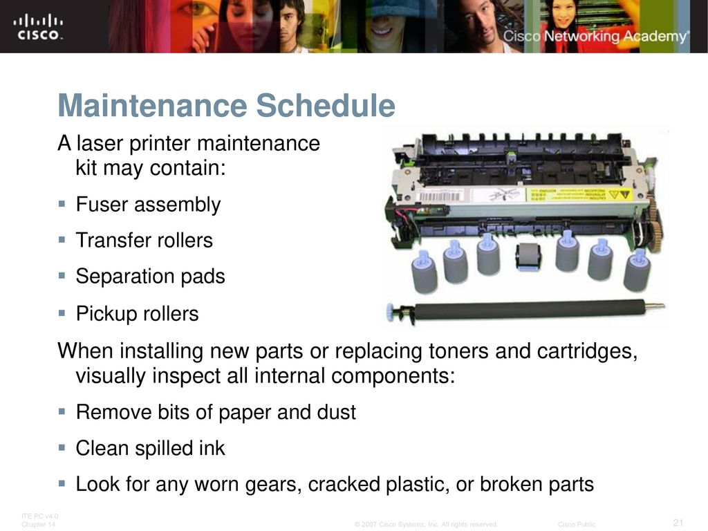 21 Maintenance Schedule A laser printer ...