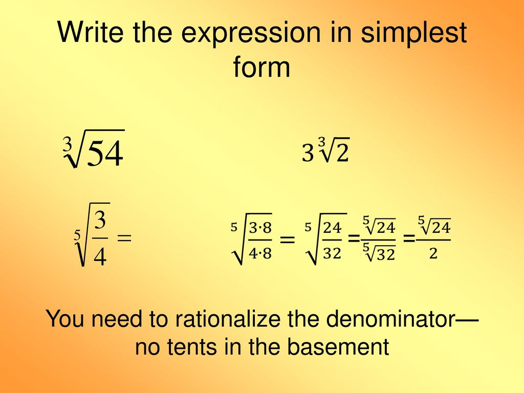 simplest form exponents  13.13 Apply Properties of Rational Exponents - ppt download