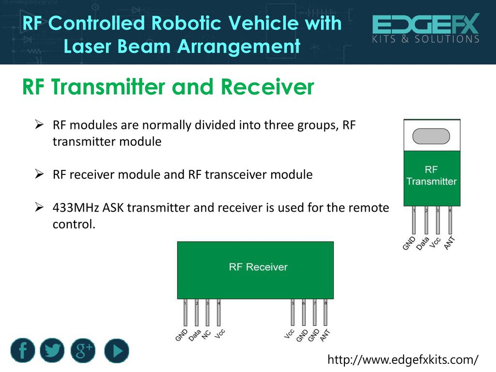 Rf Controlled Robotic Vehicle With Laser Beam Arrangement Ppt Download 433mhz Transmitter Circuit Diagram