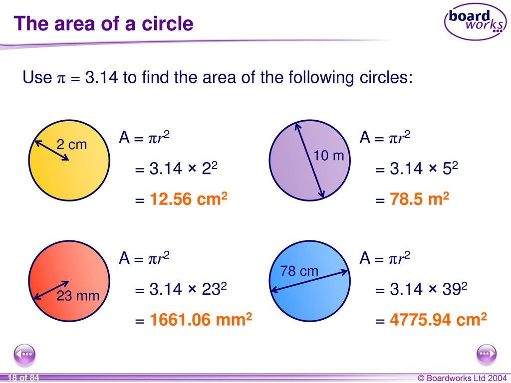 The area of a circle Use π = 3.14 to find the area of the following