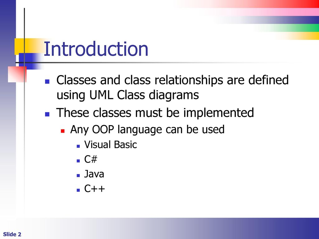 Introduction to object oriented programming ppt download introduction classes and class relationships are defined using uml class diagrams these classes must be ccuart Gallery