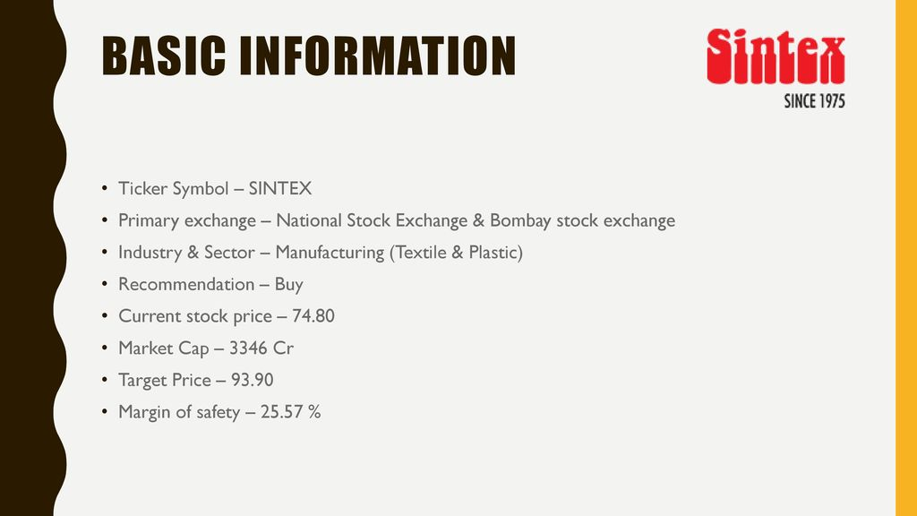 Independent View On Sintex Industries Ppt Download