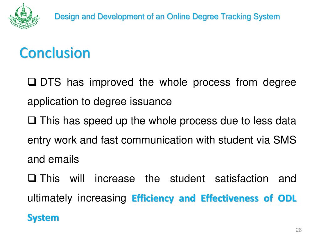 Degree Tracking System (DTS) to improve the Efficiency and