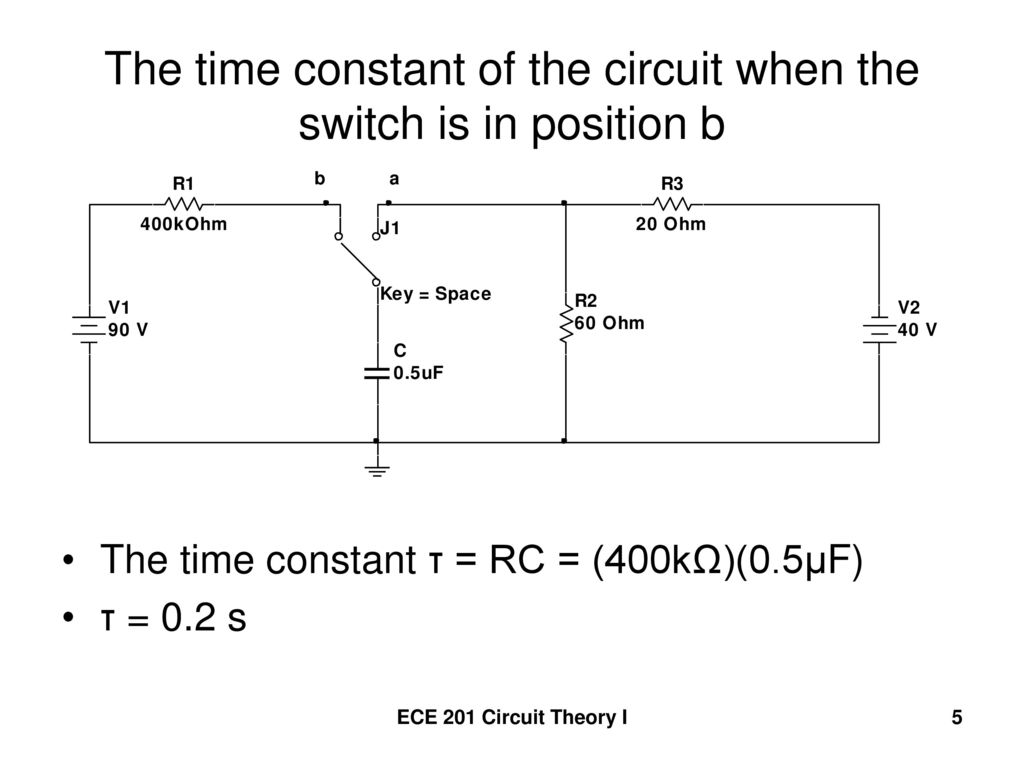 The time constant of the circuit when the switch is in position b