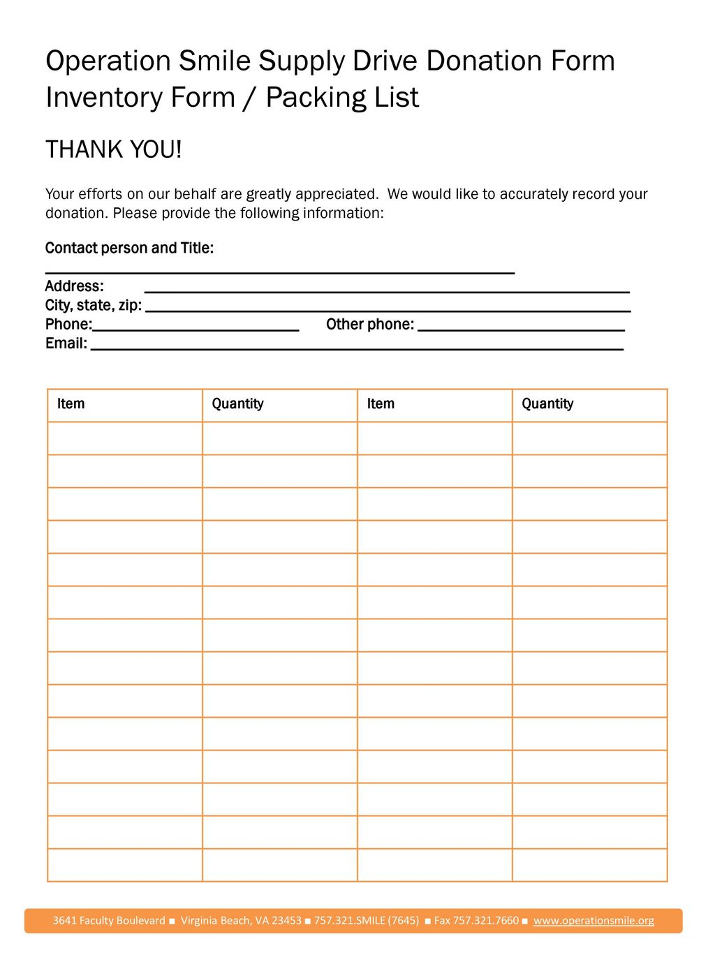 operation smile supply drive donation form inventory form packing list