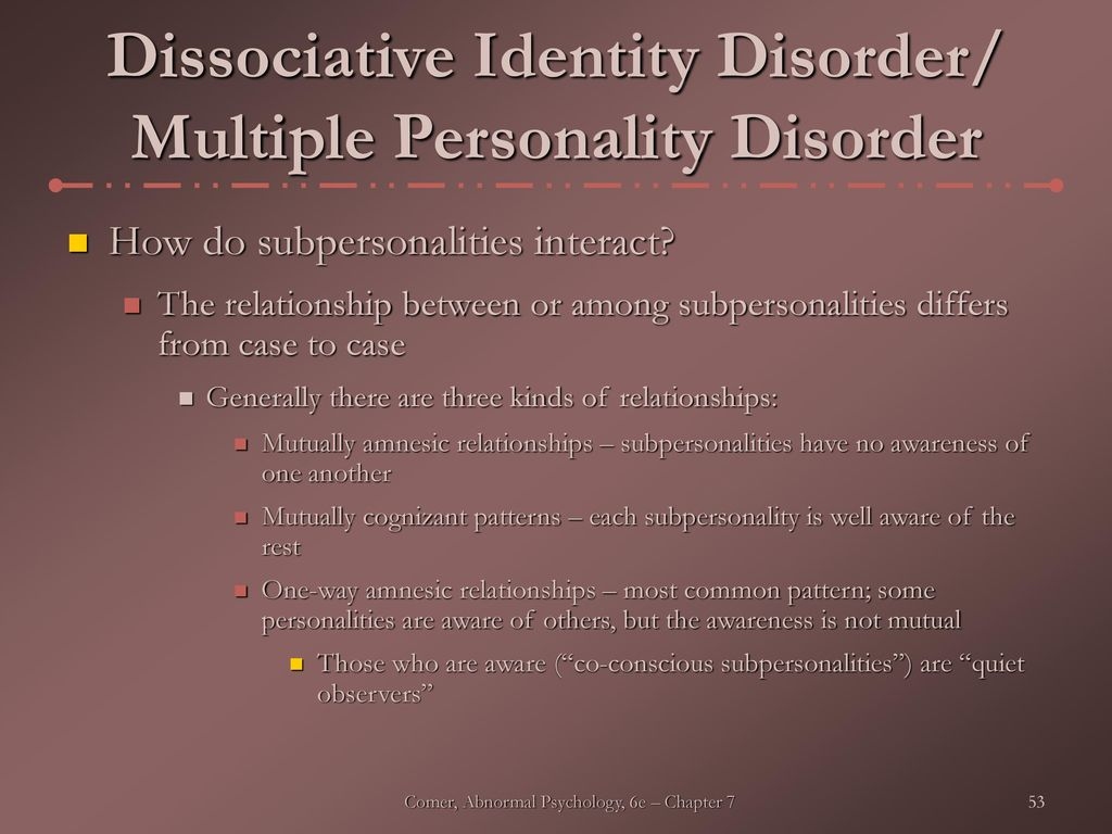 essays dissociative identity disorder Dissociative identity disorder is a condition where one person develops multiple personalities or identities it used to be called multiple personality disorder in this article, learn about the.