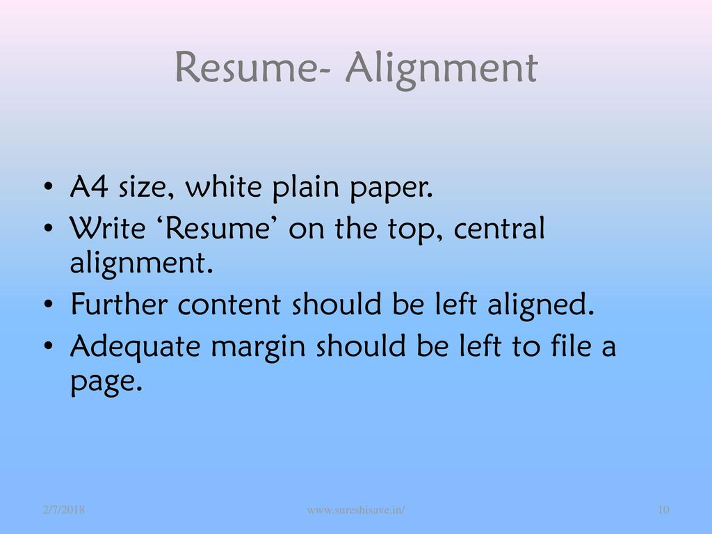 10 resume alignment a4 size white plain paper