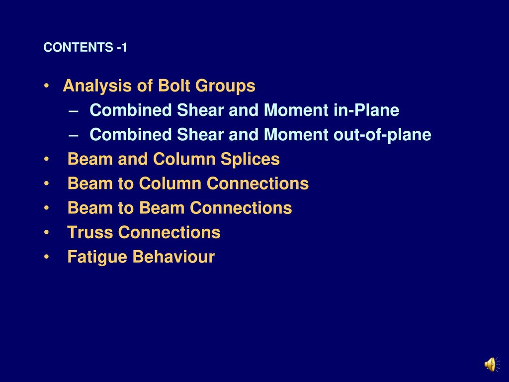 Analysis of Bolt Groups Combined Shear and Moment in-Plane