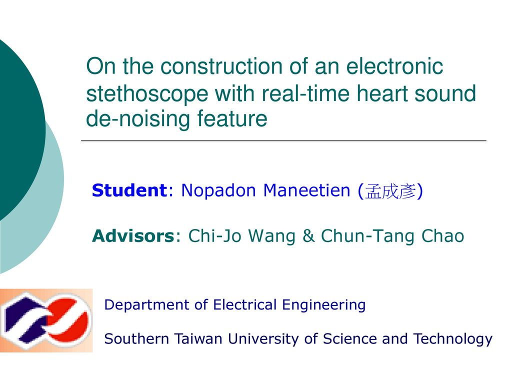 Student Nopadon Maneetien Ppt Download Electronics Project Electronic Stethoscope Designing Engineering On The Construction Of An With Real Time Heart Sound De Noising