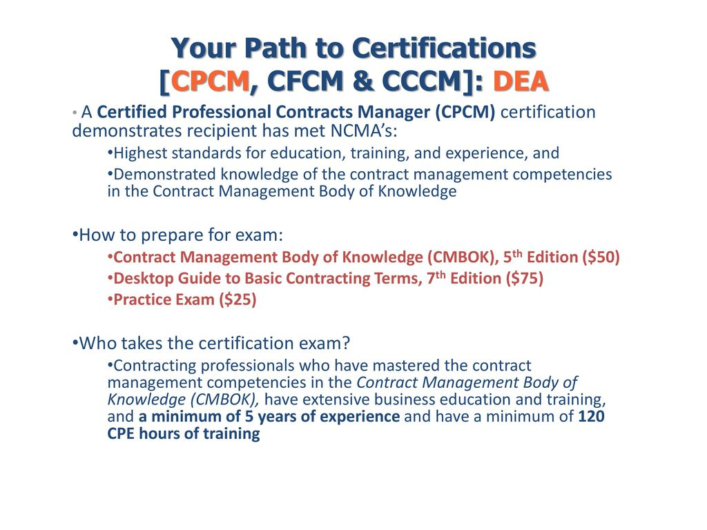your path to certifications cpcm cfcm cccm dea ppt download rh slideplayer com  desktop guide to basic contracting terms pdf