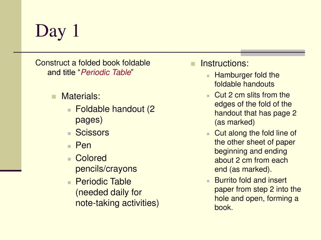 Daily taks connection periodic table ppt download day 1 instructions materials foldable handout 2 pages scissors pen urtaz Gallery