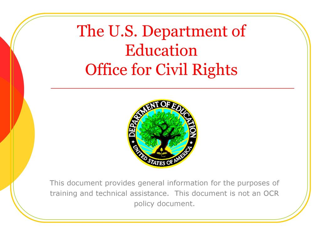 Education Department Civil Rights >> The U S Department Of Education Office For Civil Rights Ppt Download