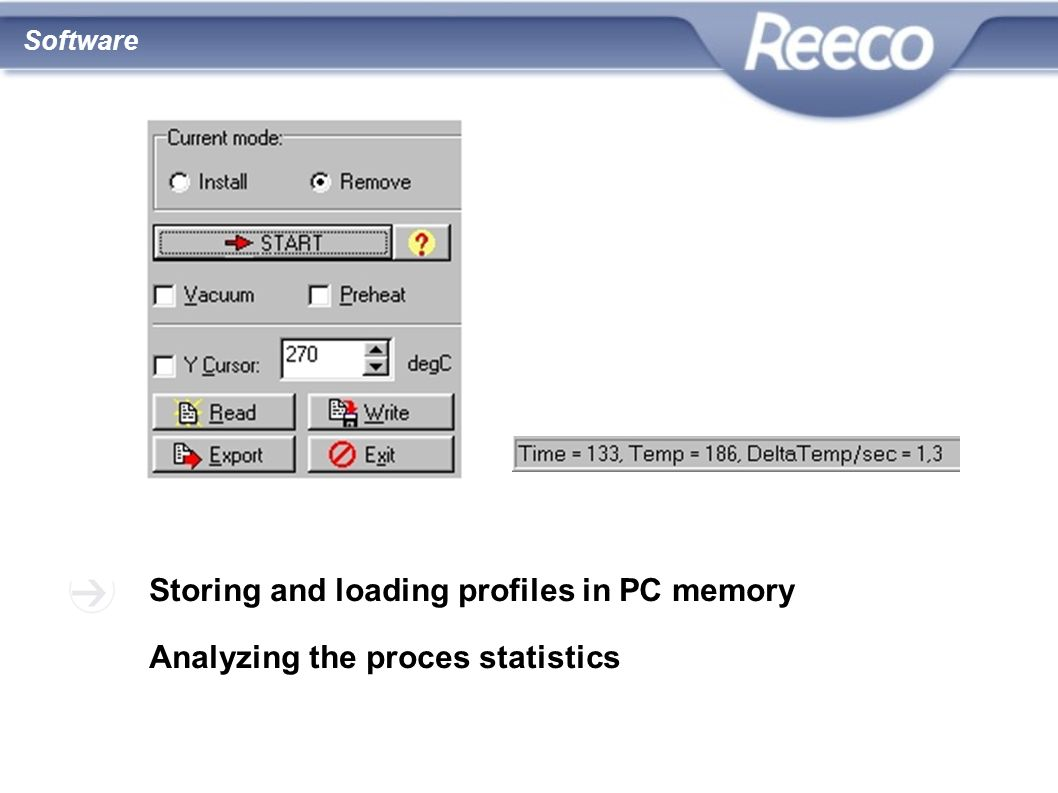 Storing and loading profiles in PC memory
