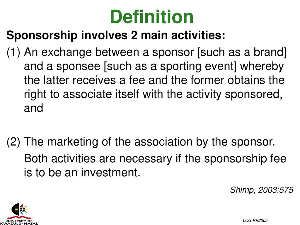 Sponsee definition