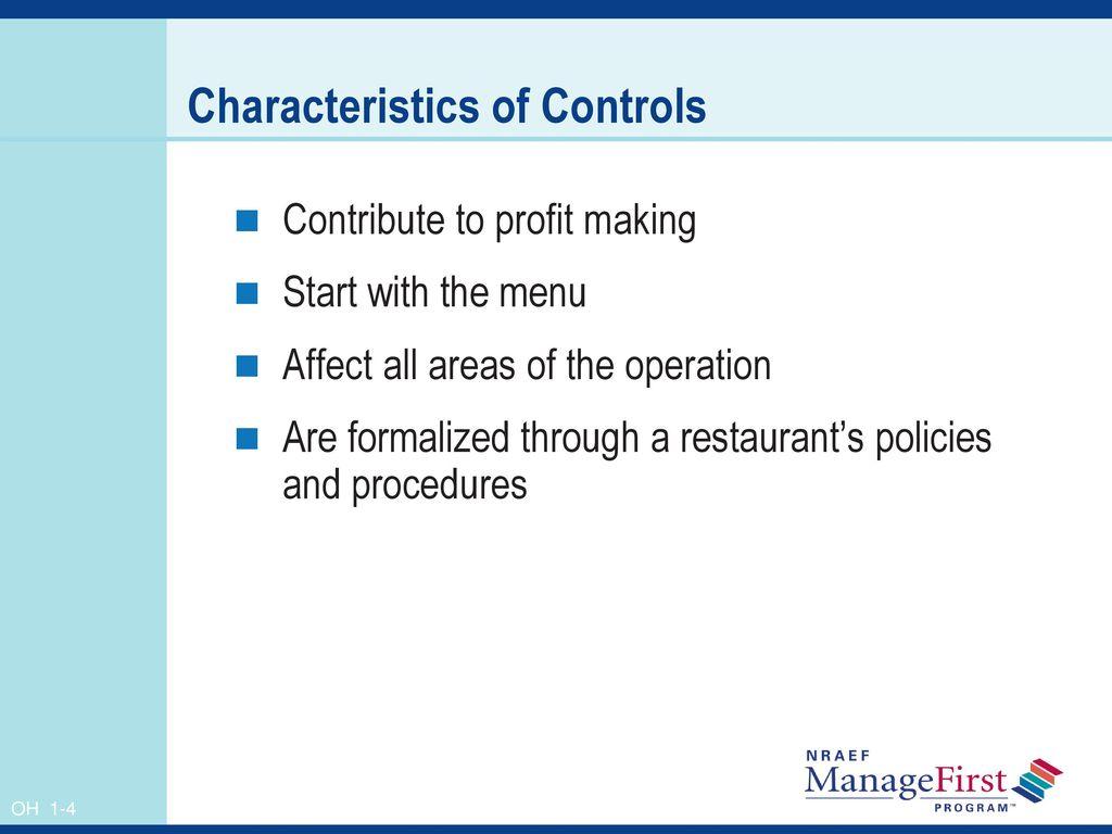 4 Characteristics of Controls