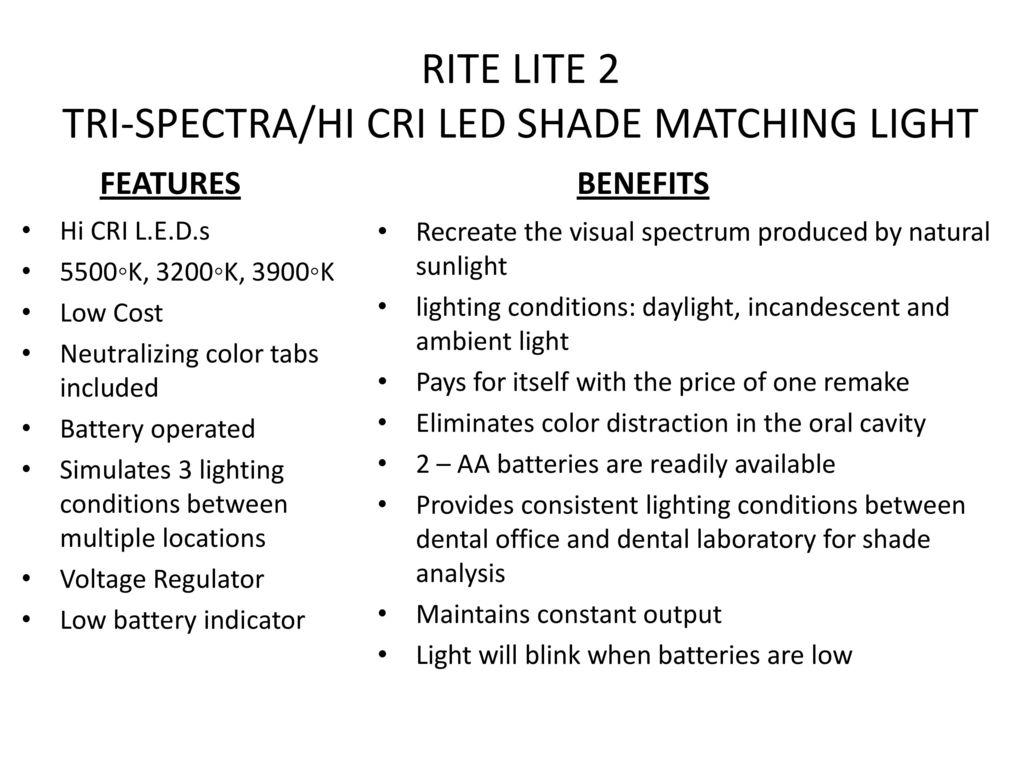 Rite Lite 2 Tri Spectra Hi Cri Led Shade Matching Light Ppt Download Low Battery Indicator 5