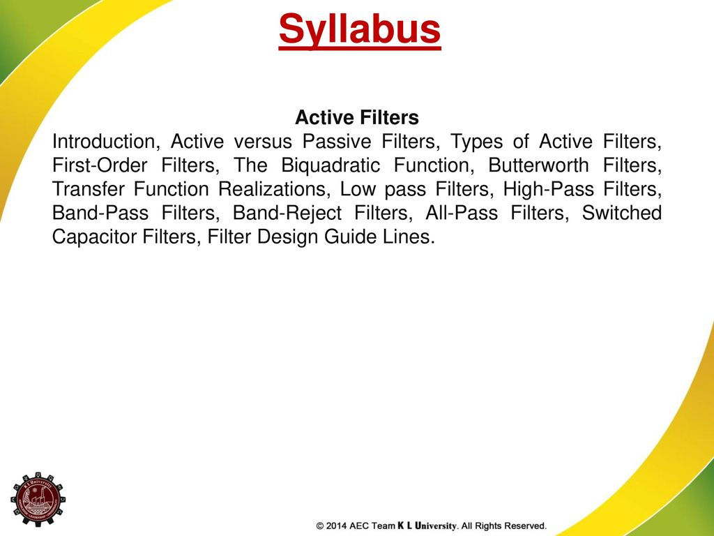 Syllabus Active Filters Ppt Download Lc Rf Filter Circuits Lowpass Highpass Bandpass And Notch