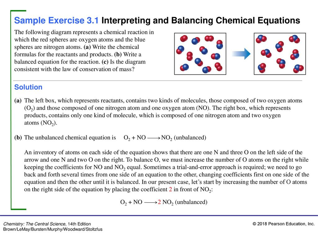 Sample Exercise 31 Interpreting And Balancing Chemical Equations Oxygen Atom Diagram Atoms