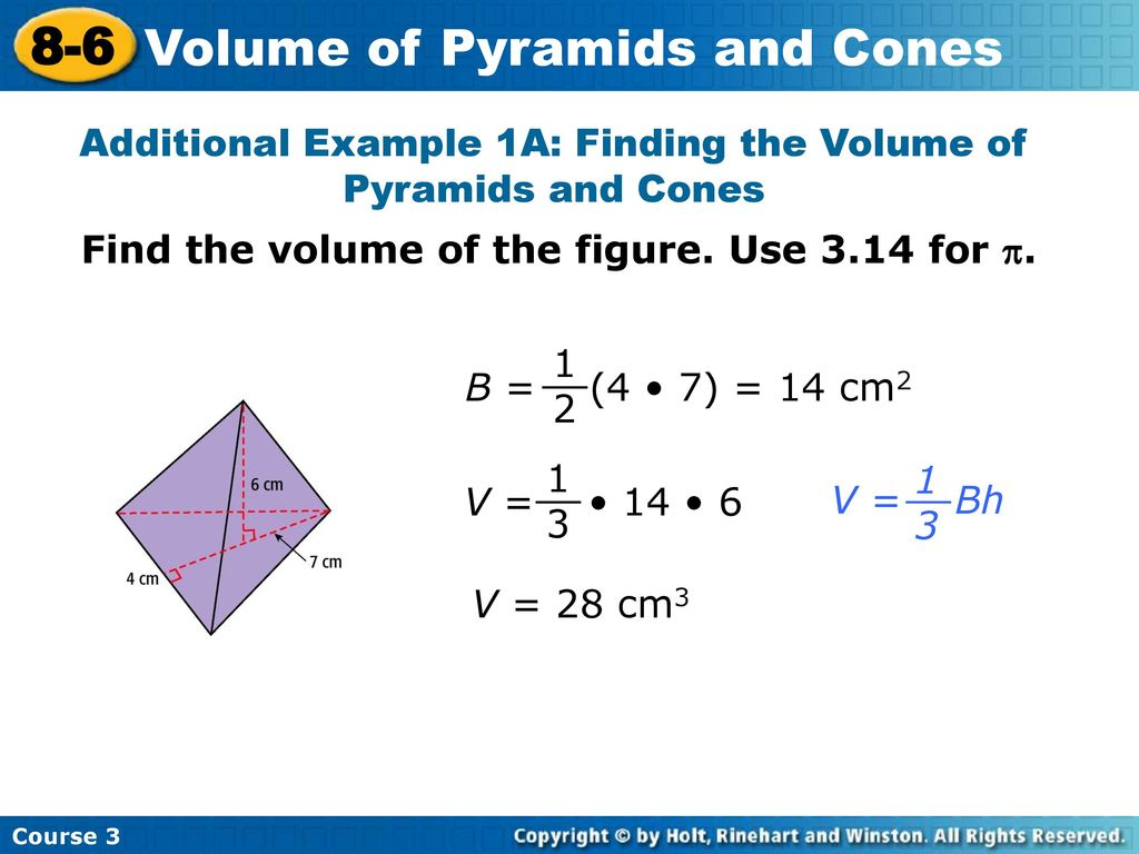 8-6 problem solving volume of pyramids and cones
