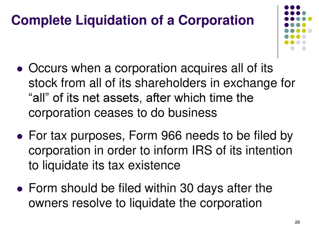 Corporate Formation Reorganization And Liquidation Ppt Download
