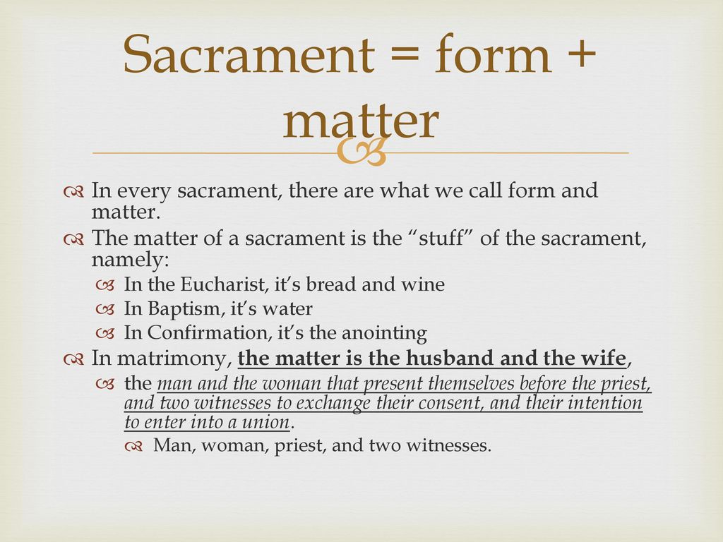 matter and form of matrimony