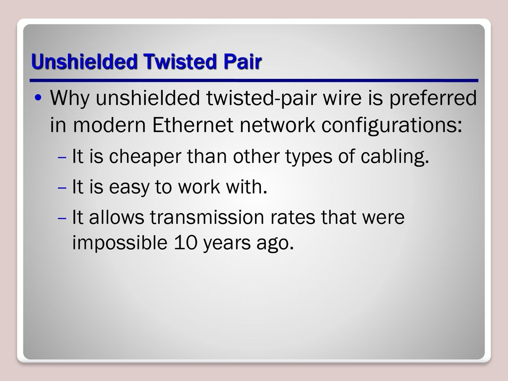 Media Lesson Ppt Download Twisted Pair Wiring Solutions Ltd Unshielded