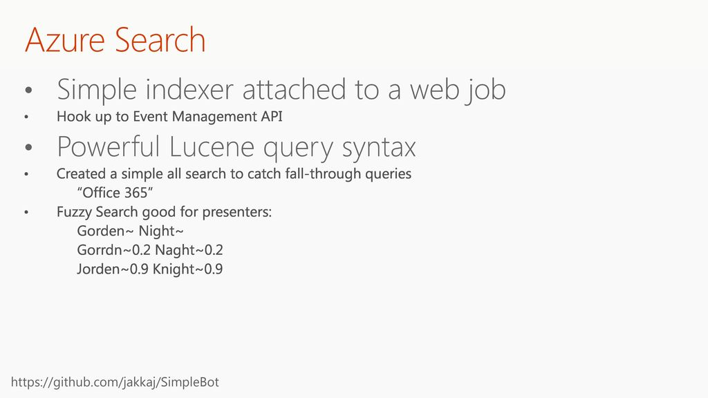 Azure Search Simple indexer attached to a web job