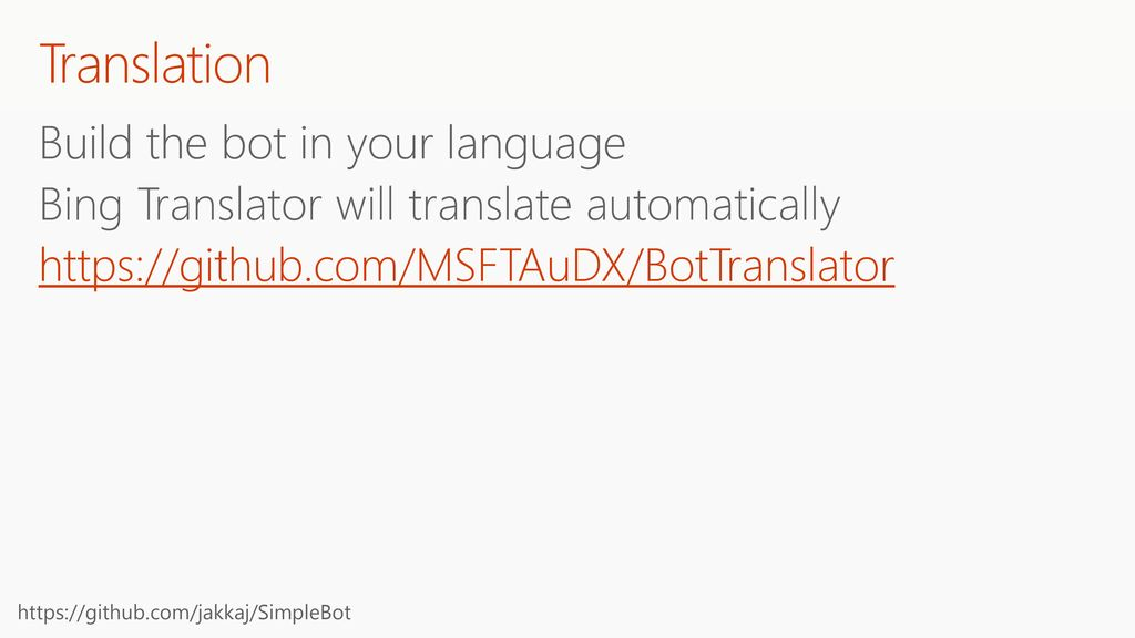 Translation Build the bot in your language