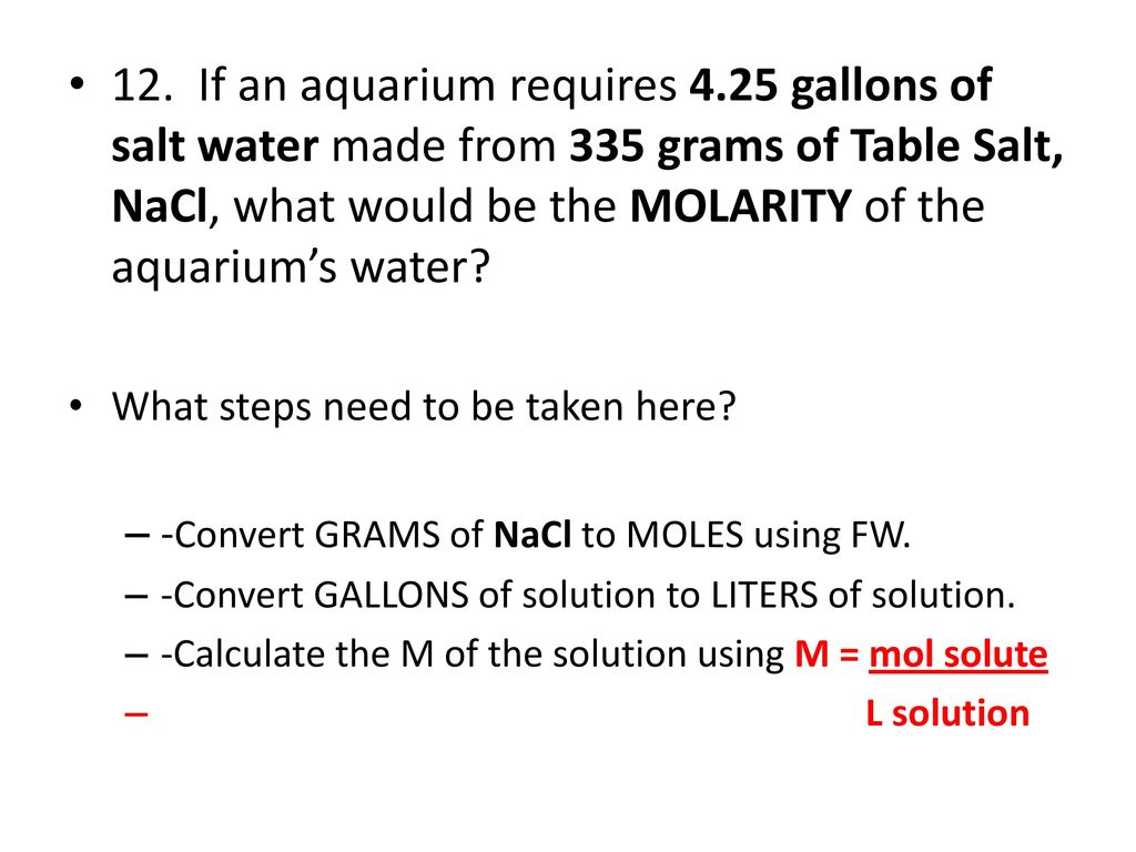 Moles and Molarity Practice Problems  - ppt download