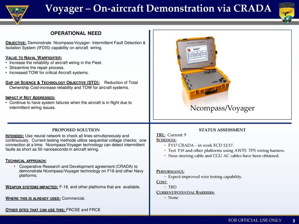 Voyager+%E2%80%93+On aircraft+Demonstration+via+CRADA frcsw advanced technology innovation (ati) intermittent wiring