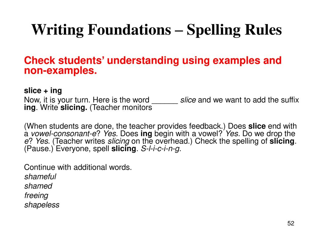 A word with the suffix n. Spelling rules