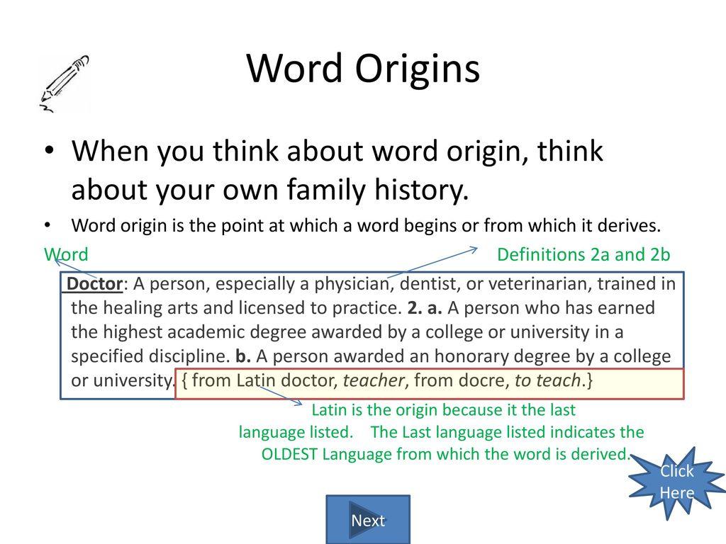 3 Word Origins ...