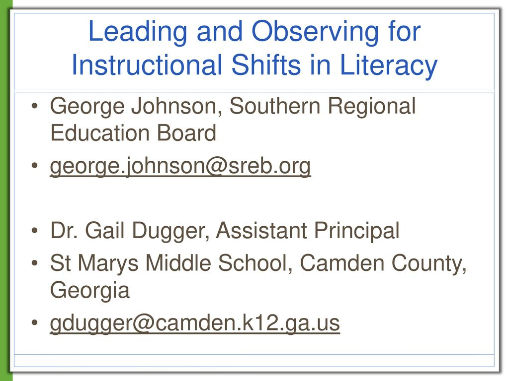 Leading And Observing For Instructional Shifts In Literacy Ppt