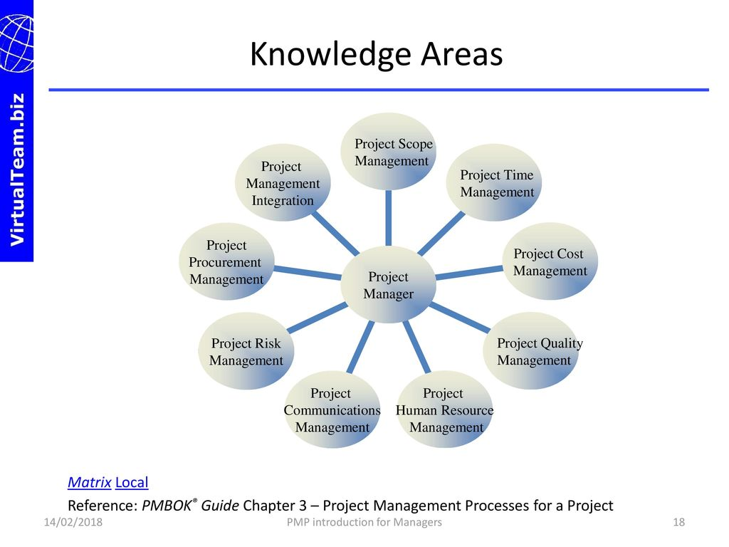 18 PMP Introduction For Managers Knowledge Areas