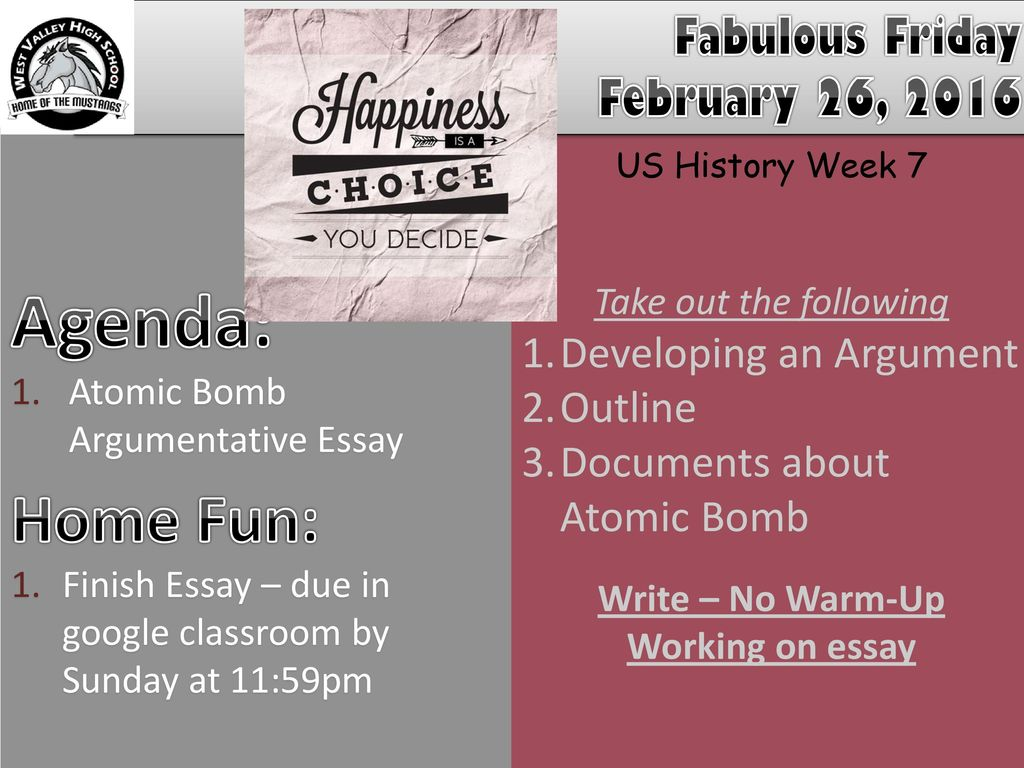 After High School Essay Agenda Home Fun Fabulous Friday February   Essays And Term Papers also Healthy Eating Essays Agenda Home Fun Fabulous Friday February  Ppt Download High School Entrance Essay Samples