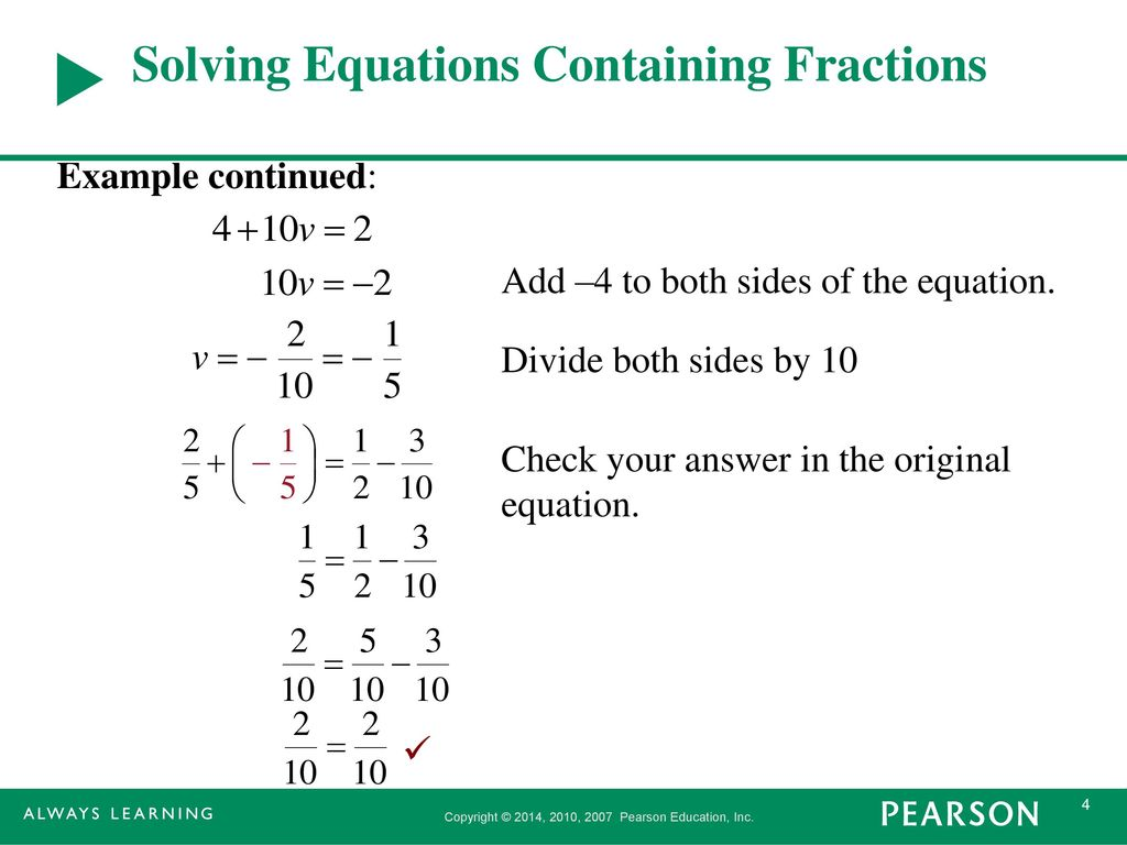 section 2.3 solving linear equations involving fractions and