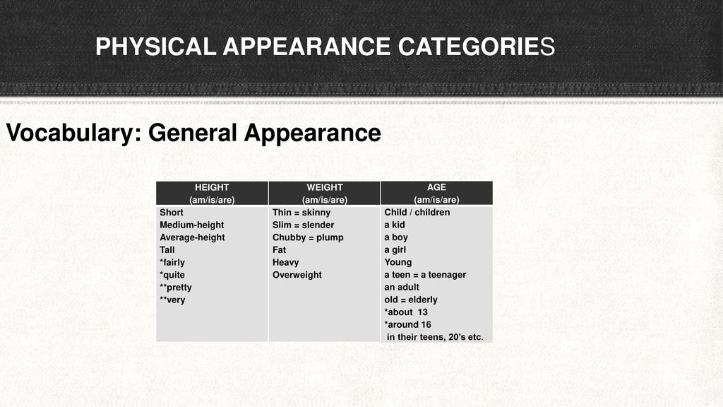 PHYSICAL APPEARANCE CATEGORIES