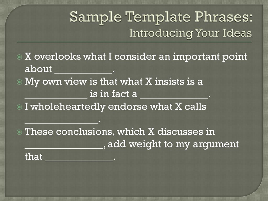sample template phrases introducing your ideas