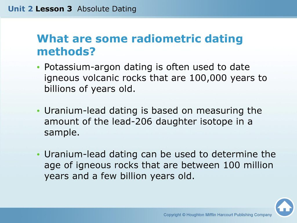 what type of rocks are used in radiometric dating