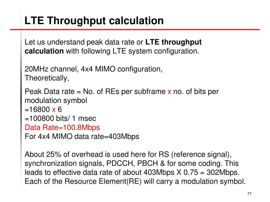 Lte uplink throughput calculation