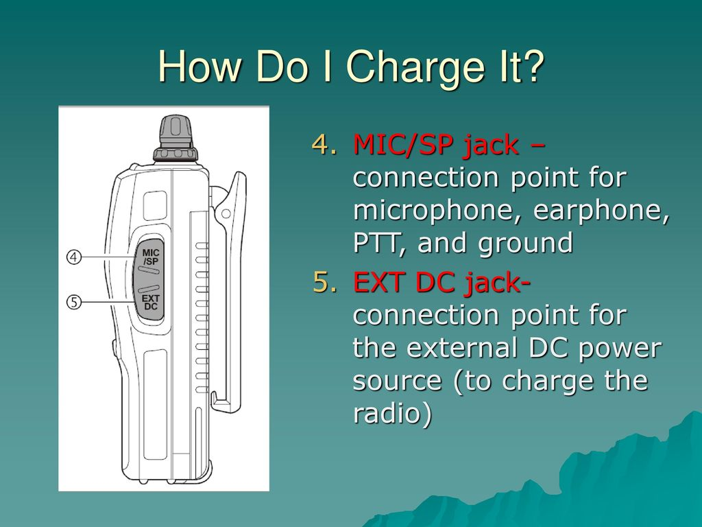 Ham Radio Lets Get You Talking Ppt Download Dc Jack Wiring How Do I Charge It Mic Sp Connection Point For Microphone Earphone