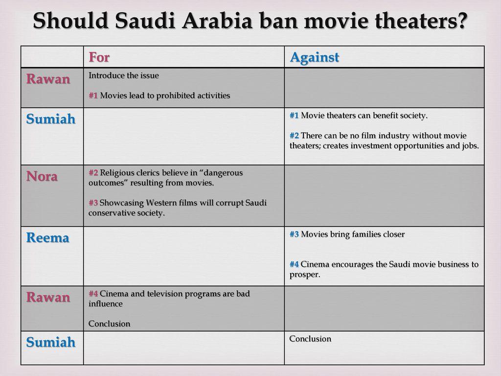 Group Debate: Movie Theaters in Saudi Arabia - ppt download