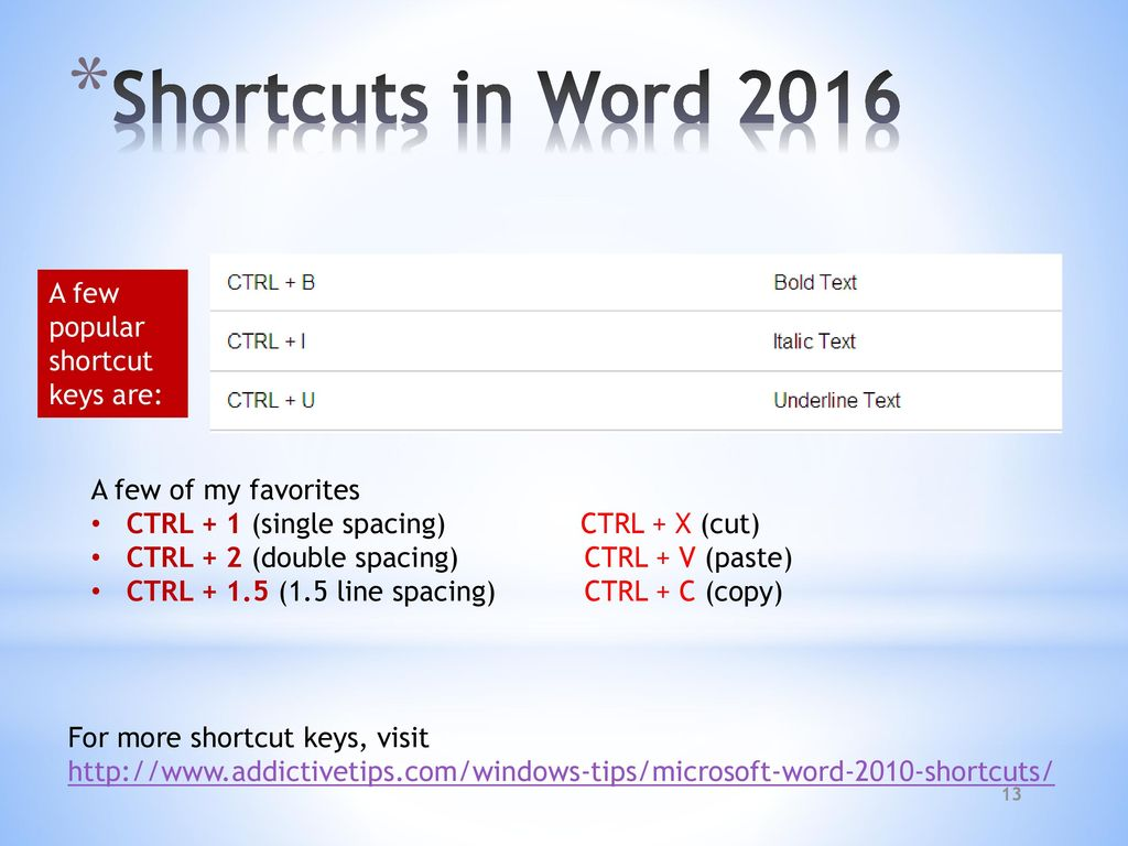 ms word keys 2016