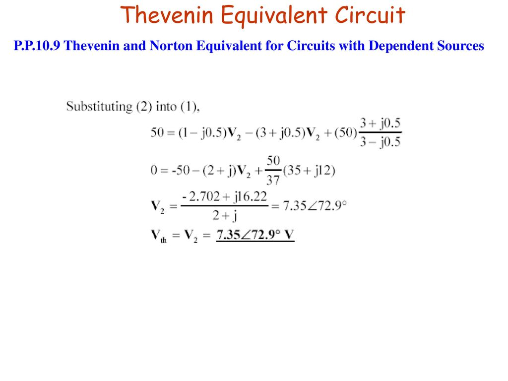Chapter 6b Sinusoidal Steady State Analysis Ppt Download Circuit Theorems Example Solved Problems Based On Thevenin Theorem Equivalent