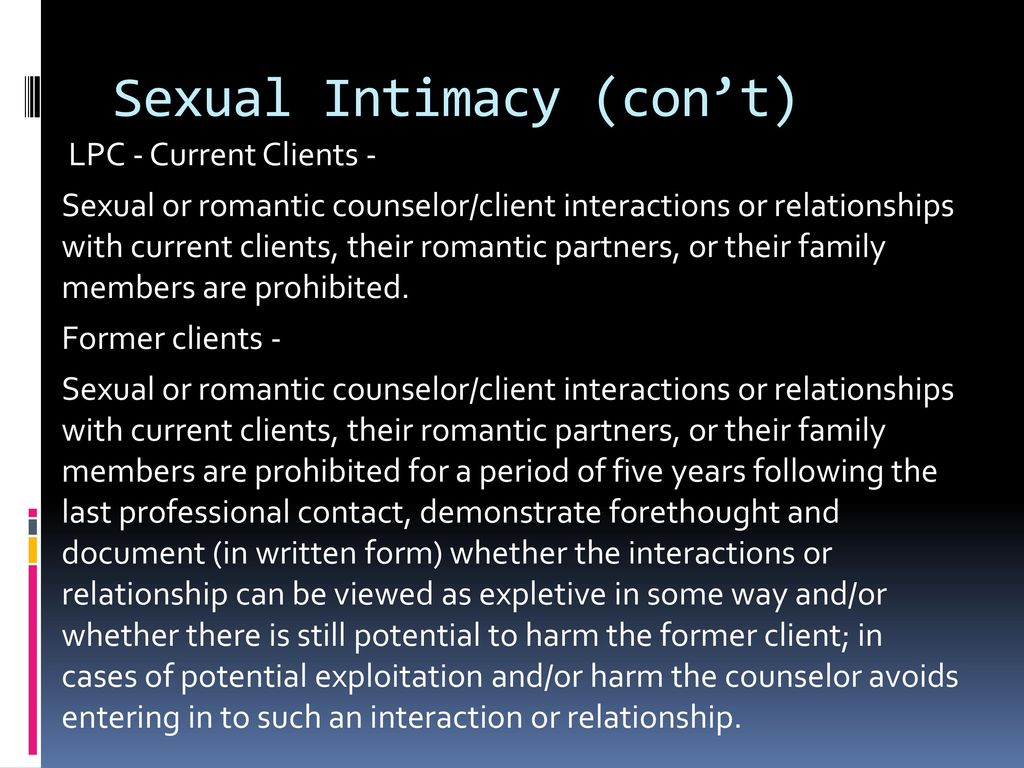 Sexual intimacies with counseling clients