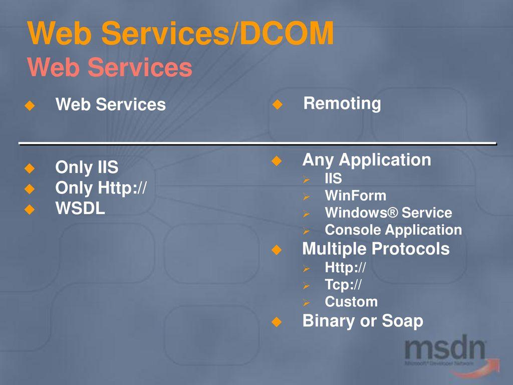 15 Web Services/DCOM Web Services Remoting KEY MESSAGE: Web Services  Compared to .NET ...