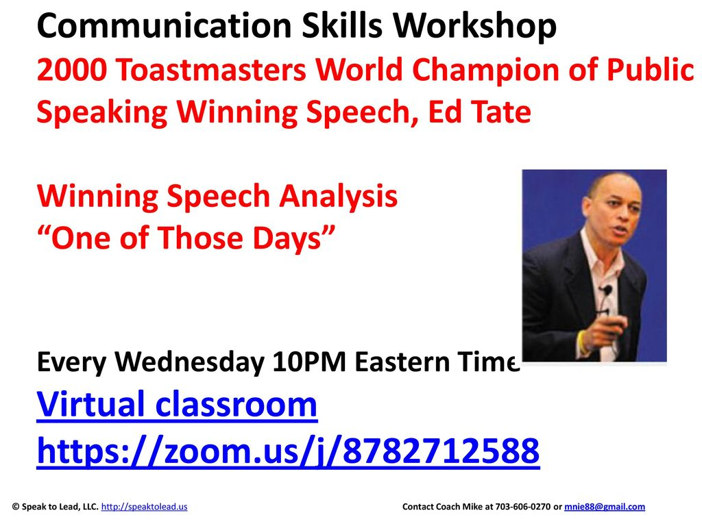 communication skills workshop 2000 toastmasters world champion of public speaking winning speech ed tate winning