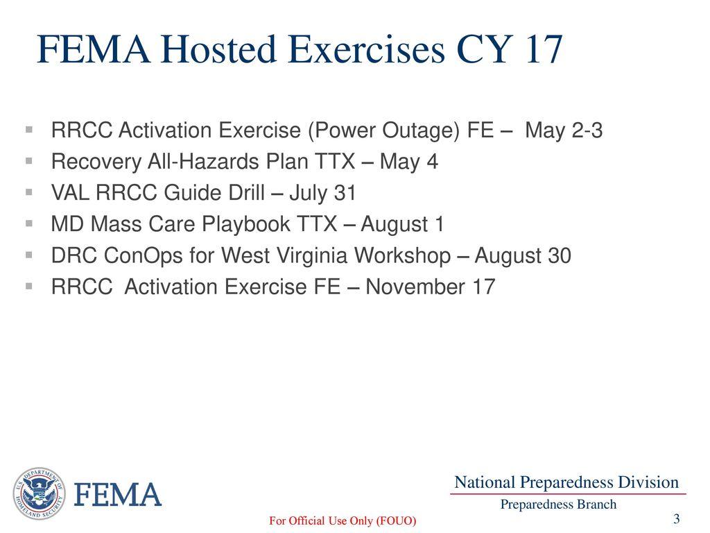 Overview of FEMA Region III Training & Exercise Activities