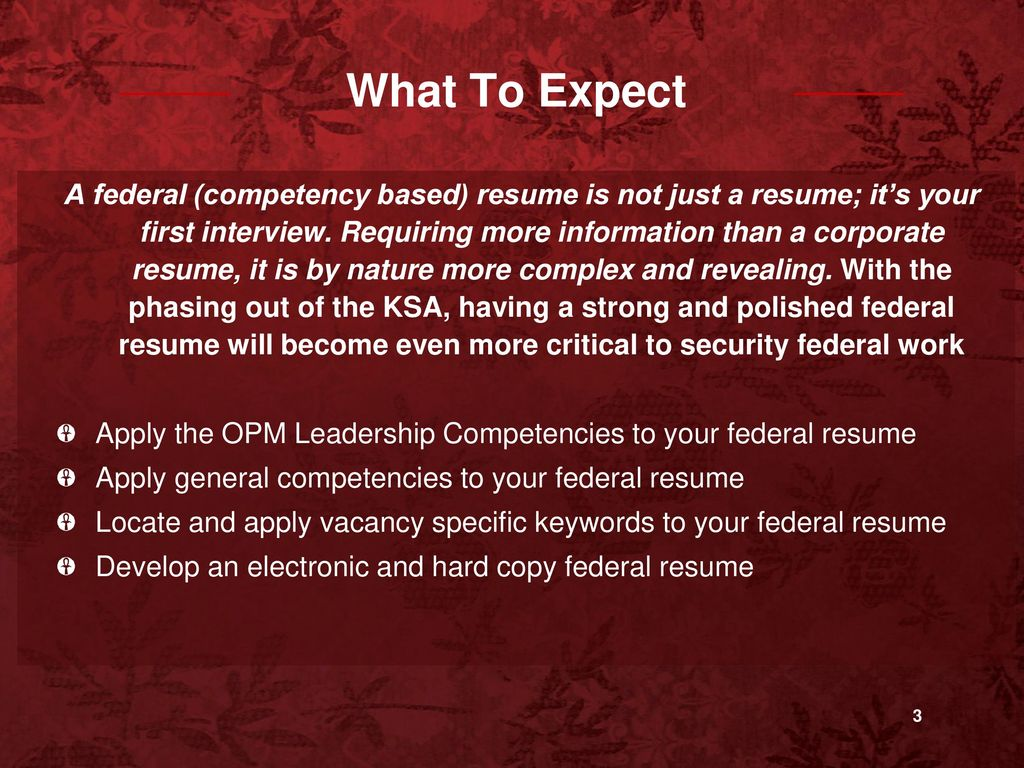 Building A Federal Competency Based Resume Career Day September