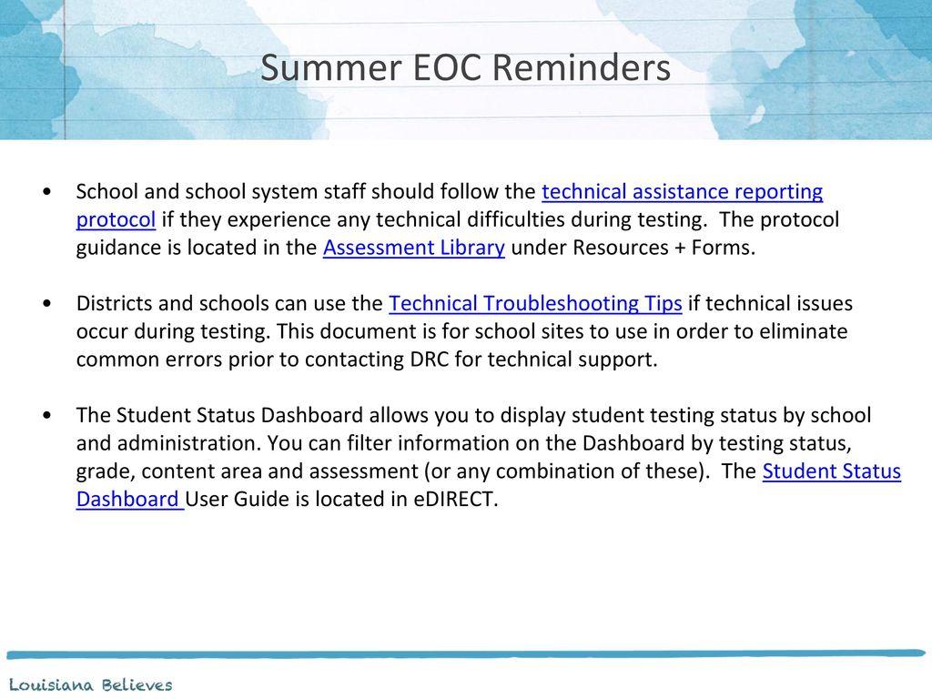 Summer EOC Reminders